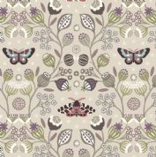Lewis & Irene - Winter Garden - 6195 - Winter Floral & Moths on Pale Taupe - A316.1 - Cotton Fabric